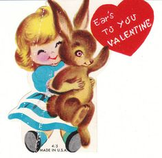 Little Girl and Bunny Rabbit Vintage Valentine Die-Cut Card for Children by BirdhouseBooks on Etsy