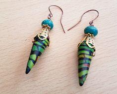 Dangle polymer clay earrings, Lamp work glass earrings, Multi colour earrings, Polymer clay jewellery, Women's earrings, Green bead earrings by SweetgemsDesign on Etsy