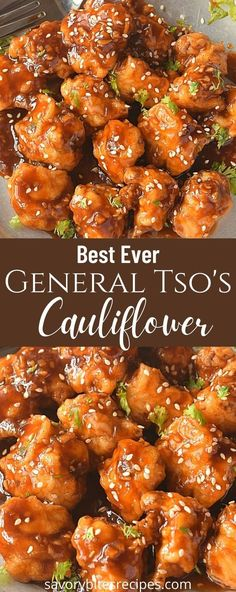 Try this easy and best vegan General Tso's Cauliflower recipe with crispy fried cauliflower tossed in sweet and spicy general tso sauce which makes this dish so delish that you will keep asking for more! you can make with baked cauliflower or use air fryer.#savorybitesrecipes #vegan #generaltsocauliflower #easyrecipe #appetizer #chinesefood #takeout #restaurantstyle #cauliflower