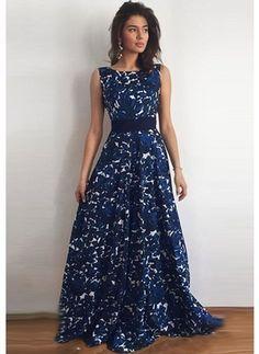 Chiffon Renda Floral Sem magas Longo Vintage Vestidos de (1018996) @ floryday.com