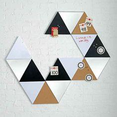 Triangular dry erase and chalk boards to use like pattern blocks on your walls. Modern Desk Accessories, Unique Office Supplies, Amy, Unique Desks, Modern Dinnerware, Black Chalkboard, Room Decor, Wall Decor, Geometric Wall Art