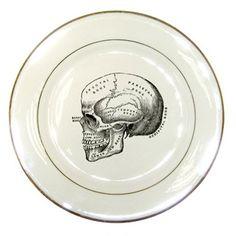 Halloween Decorative House Decor Eco Vintage Skull artwork on Porcelain Plate. $18.00, via Etsy.