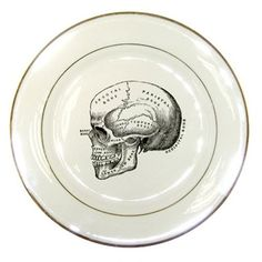 Halloween Decorative House Decor Eco Vintage Skull artwork on Porcelain Plate. $18,00, via Etsy.