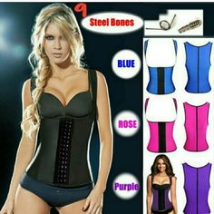 3 hooks vest corset latex waist traine 100% latex Latex Vest Waist Trainer Blet Waist Training Vest Hot Body Shaper Waist Cincher And Waist Training Corsets 9 steel boning.  An instant slimmer  waistline reduction of up to 3 dress sizes Compressed and controlled back fat and bra bulge firm and flatter weight loss of up to 4 dress sizes in 6 weeks Postpartum figure restoration under-bust lift stronger core Reduced lower back pain  corrected and more confident posture Other
