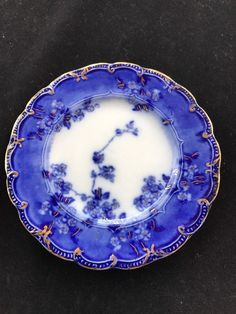 """FLOW BLUE LUGANO  5 7/8"""" BREAD PLATE BY RIDGWAY IN MINT CONDITION CIRCA 1910"""