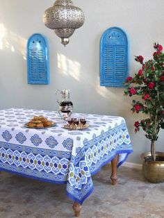 Moroccan Tablecloth, Blue and White Tablecloth , Ivory Tablecloth,Cotton Tablecloth