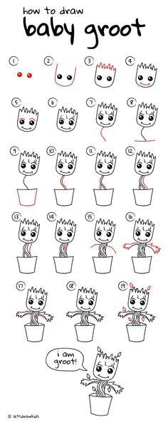 Zeichnungsentwürfe Wie zeichnet man Baby Groot Einfaches Zeichnen Schritt für Schritt #