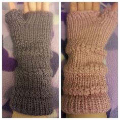 Loom knit gloves.. first pair I made..these gloves were made to be worn on either hands.. no specifics for left or right hand..