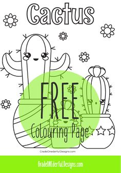 Free Cactus colouring page for kids. Also some links to some other cactus freebies! Free Cactus colouring page for kids. Also some links to some other cactus freebies! Printable Adult Coloring Pages, Coloring For Kids, Coloring Pages For Kids, Fun Printables For Kids, Cactus Pictures, Cactus Craft, Classroom Freebies, Art For Kids, Preschool Projects