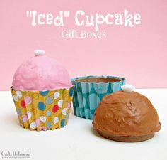 Gift Boxes Tutorial: Make Your Own DIY Iced Cupcake Boxes........ would be a great teacher's gift!