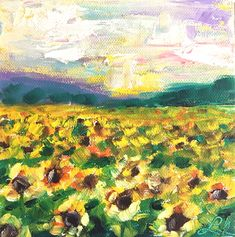 Small Original Sunflower field oil painting, Made to Order, 6x6 gallery wrapped canvas, christmas, teacher, office gift