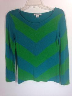 Liz Claiborne Chevron Sweater Top Size Small Blue & Green #LizClaiborne #KnitTop #Career
