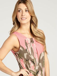 Laura   Floral Placement Pleated Top - Orange Pattern