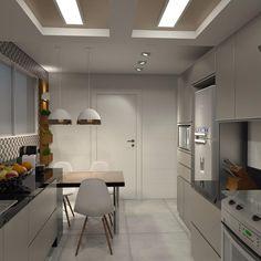 Foto: Reprodução / Marcela Mesquita Interiores Modern Kitchen Renovation, Table, House, Furniture, Home Decor, Kitchenettes, Instagram, Design Of Kitchen, Kitchen Small