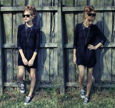 Ray Ban Wayfarers, Forever 21 Leather Collar Dress, Converse Low Tops