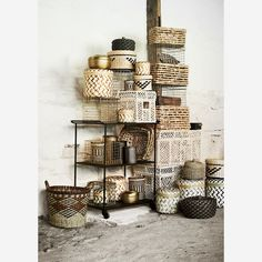Madam Stoltz Small Natural Seagrass Rectangular Wicker Box with Lid - Trouva Bamboo Box, Bamboo Basket, Iron Sheet, Basket Shelves, Storage Baskets With Lids, Lid Storage, Moving Furniture, Open Cabinets, Tapas