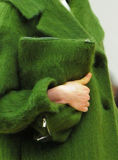 Just what I need for fall/winter, a astroturf coat and matching handbag. Where have you been all my life?!