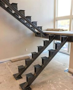 Build Deck Stairs Without Stringers – Choosing Decks furniture related to Build… Stair Railing Design, Home Stairs Design, Staircase Railings, Modern House Design, Staircase Ideas, Steel Stairs, Deck Stairs, House Stairs, Cantilever Stairs