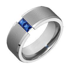 Мужская титана обручальное синий сапфир TENSION КОМПЛЕКТ Comfort Fit кольцо размер 4 до 14