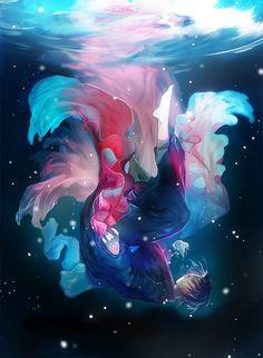 水中のイラストはたくさんありますが、今回は水面からすぐ下に人が漂うイラストを特集しました。水中になびく髪や服、そして水面から降り注ぐ光がとても幻想的です。水面下で2人向かい合わせのイラストは、何か不思議なドラマを感じさせます。 それではご覧ください。