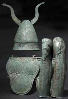 Samnite warrior's armour consisting of a Pilos type helmet, armour and greaves, century B. Private collection, from Hermann Historica auction