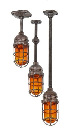 "fully functional vintage american industrial single electric grain elevator ""explosion proof"" pendant light with original amber glass bulb g..."