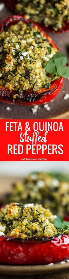 These quinoa & feta stuffed peppers are bound to satisfy your tastebuds! | nutritionistmeetschef.com