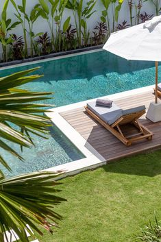 Villa JOJU- THE PERFECT FAMILY VILLA | Bali Interiors Small Backyard Design, Small Backyard Patio, Backyard Pool Designs, Backyard Ideas, Pool And Deck Ideas, Pool And Patio, Pool With Deck, Small Pool Ideas, Wood Pool Deck