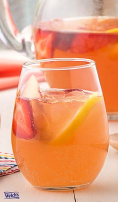 Strawberry Lemonade Sangria Recipe using Welch's Sparkling. Easy Summer drink recipe. Non alcoholic fruit drinks.