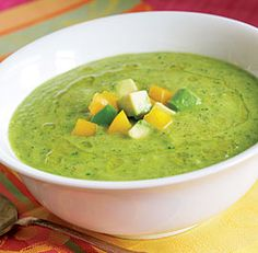 Green Gazpacho: To dress up this cold soup, serve it with lumps of cooked lobster, crab, or shrimp.