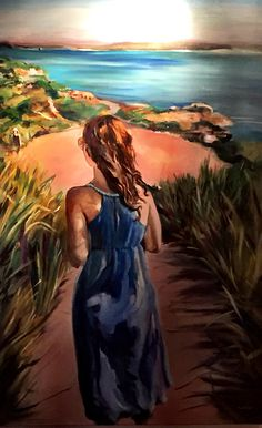Wandering along a beachside path, this girl saw her future. Oil painting by Chrissy. Visit the web site at Chrishuebnerart.com.au