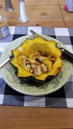 keto acorn squash with chicken stuffing Acorn Squash, Frittata, Bed And Breakfast, Keto, Lunch, Chicken Stuffing, Food, Atlanta, Life