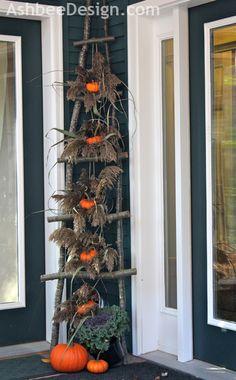 Pumpkin Ladder by Marji Roy at AshbeeDesign.com