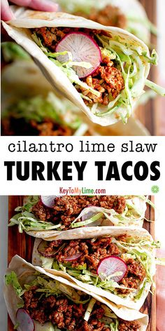 The BEST ground turkey tacos with an easy cilantro lime slaw. Ready in only 30 m… The BEST ground turkey tacos with an easy cilantro lime slaw. Ready in only 30 minutes and completely loaded with tons of delicious flavor. Ground Turkey Tacos, Ground Turkey Recipes, Cilantro Lime Slaw, Healthy Low Carb Recipes, Healthy Tacos, Healthy Meals, Cheap Dinners, Vegetarian Recipes Dinner, Dinner Recipes