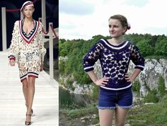 Navy crochet sweater with small elements inspired by Kenzo.