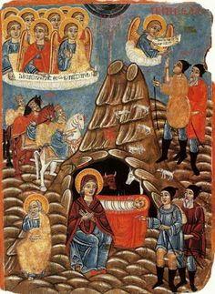 Nativity, in the Paphos region of Cyprus . In the Monastery of Panagia Chrysorrogiatissa. Parthenios (1790?-1848?), Cypriot folk psinter.