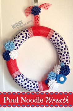This DIY Pool Noodle Wreath is fun and frugal! Choose a patriotic or summer theme and create your own seasonal decor for less.