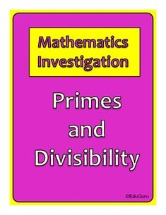 Investigations are a fun and interesting way of learning mathematics. This investigation was developed to help students understand and test the rules of divisibility and link it to what a Prime Number is.I use it as a collaborative task but students can also do it independently.I will appreciate your feedback and rating of this product.Follow EduGuru for more mathematics investigations.
