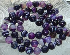 16 Deep Purple Banded Agate 12mm Smooth Round Gemstone Beads