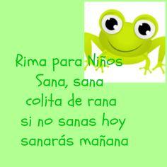 Poema para niños, Sana colita de rana: Spanish rhyme, Spanish poem for kids #learning #spanish  #poems #kids
