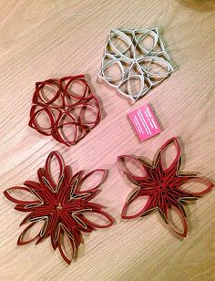 Great cheap idea for a christmas tree. toilet paper roll stars by pxu.fi, via Flickr