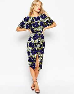 ASOS | ASOS Wiggle Dress with Split Front in Floral Print at ASOS