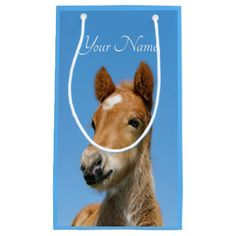Cute Icelandic Horse Foal Pony Head Photo - Name / Small Gift Bag - baby gifts child new born gift idea diy cyo special unique design