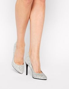 New Look | New Look GlitterSilver Heeled Pumps at ASOS