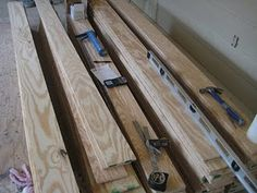 plywood cut into strips for flooring. super cheap