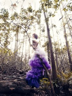 Aurora Ombre Purple Bridal Feather Couture Ricky Lindsay Gown Fashion Dress Wedding. $1,723.00, via Etsy.