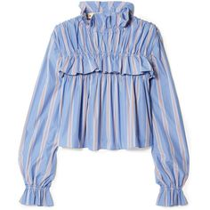 Marni Ruffled striped cotton-poplin top (€855) ❤ liked on Polyvore featuring tops, blouses, flounce top, flutter-sleeve top, striped top, striped blouse and blue blouse