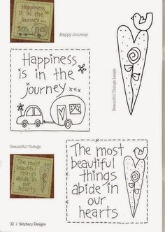 folk embroidery patterns Happy Journey and Beautiful Things patterns - Idéias! Broderie Primitive, Primitive Embroidery, Primitive Stitchery, Primitive Crafts, Hand Embroidery Patterns, Applique Patterns, Embroidery Applique, Cross Stitch Embroidery, Stitch Patterns