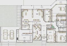 Planta de casas de luxo com piscina e churrasqueira