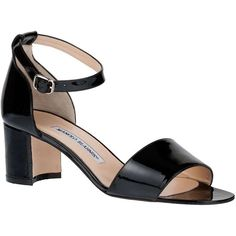 Manolo Blahnik Lauratomod patent sandal (22.925 RUB) ❤ liked on Polyvore featuring shoes, sandals, heels, ankle strap heel sandals, black mid heel sandals, black patent leather sandals, black heeled sandals and mid-heel shoes